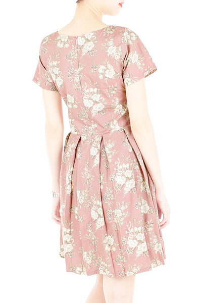 Sweetest Rosewood Vintage Flare Dress with Short Sleeves