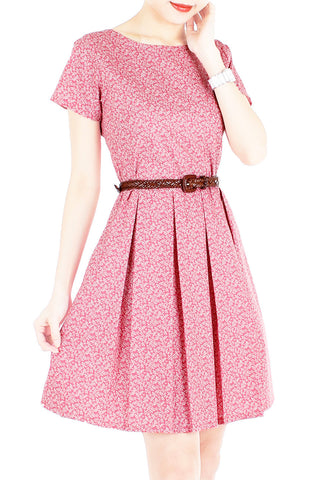 Sweetest Vine Blooms Flare Dress with Short Sleeves - Vintage Red