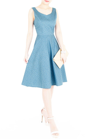 Sweetest Vine Blooms Flare Midi Dress - Vintage Blue
