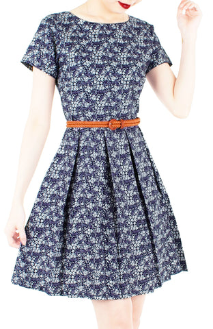 Swirling Sakura Flare Dress with Short Sleeves