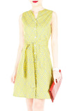 Takayama Japanese Print A-Line Button Down Dress - Yellow