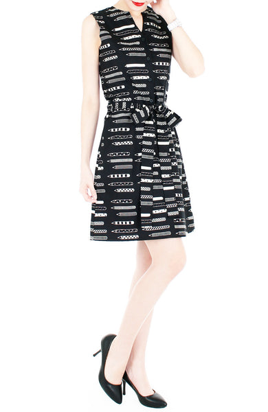 The Mighty Pen A-Line Button Down Dress - Black