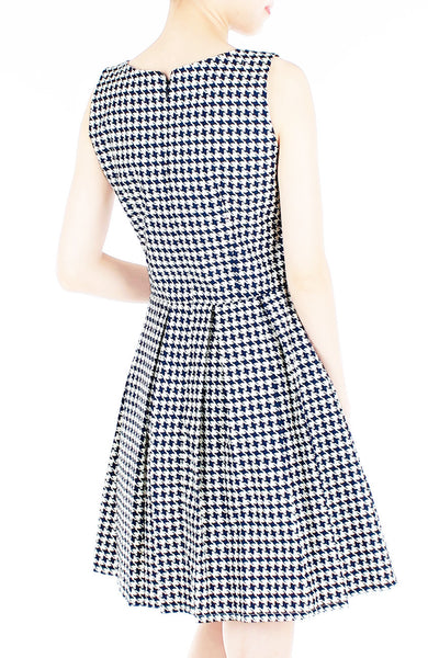 The Timeless Houndstooth Flare Dress - Dark Blue