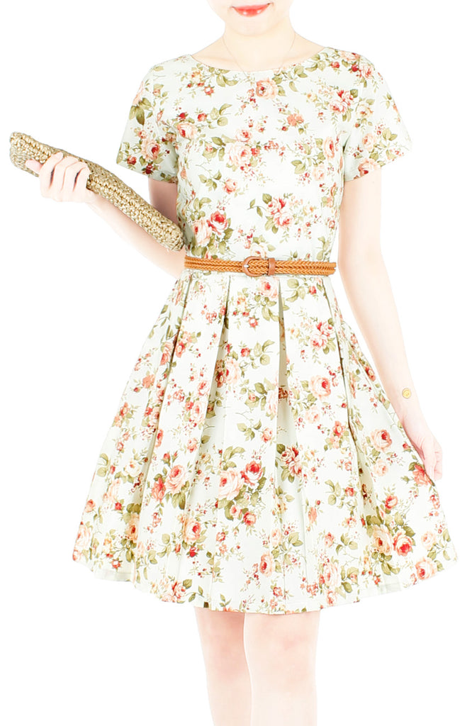 eb15030810804 Thoughtful Teatime Flare Dress with Short Sleeves at Whitesoot ...