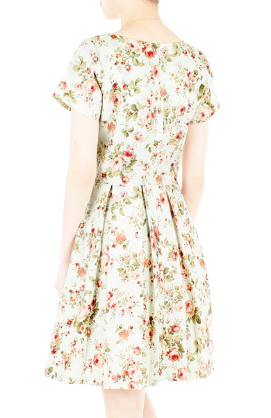 Thoughtful Teatime Flare Dress with Short Sleeves
