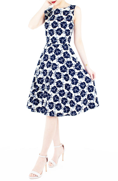 Timeless Magnetism Flare Midi Dress - Navy Floral