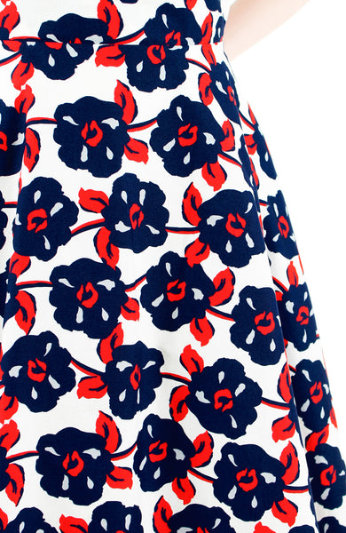 Timeless Magnetism Flare Midi Dress - Navy & Red Floral