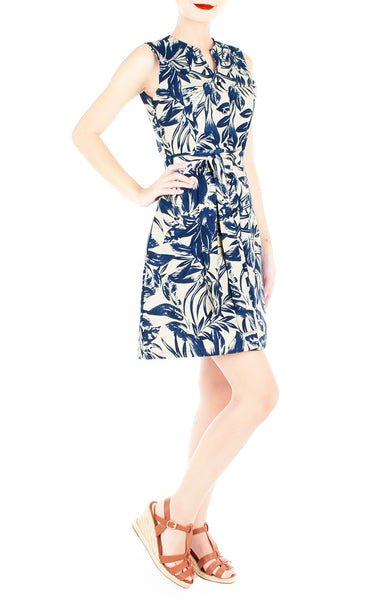 Tranquil Tropical Warrior A-Line Button Down Dress
