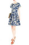 Tranquil Tropical Warrior Flare Dress with Short Sleeves
