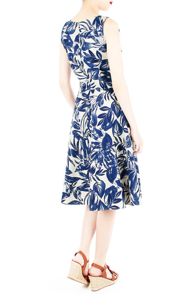 Tranquil Tropical Warrior Flare Midi Dress