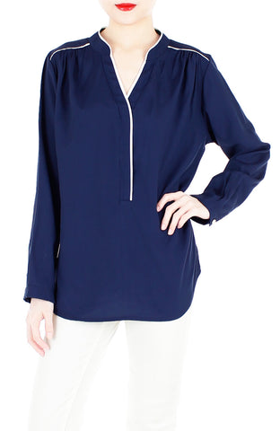 Transition Accomplished Long Sleeve Blouse - Dark Blue