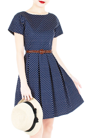 Traveler's Tune Polka Dot Flare Dress with Short Sleeves - Navy Blue