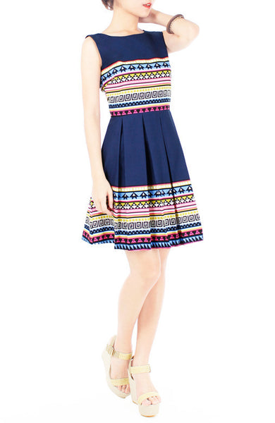 Travelling Vibes Flare Dress - Dark Blue