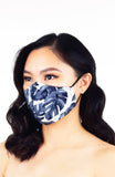 Tropical Palm Pure Cotton Face Mask - Night Blue
