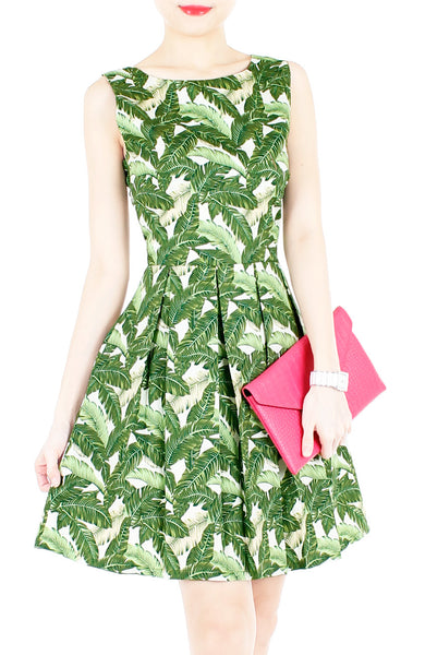 Tropical Fresh Palm Print Flare Dress