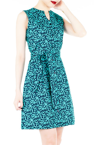 Tsuki-hana A-Line Button Down Dress - Jade
