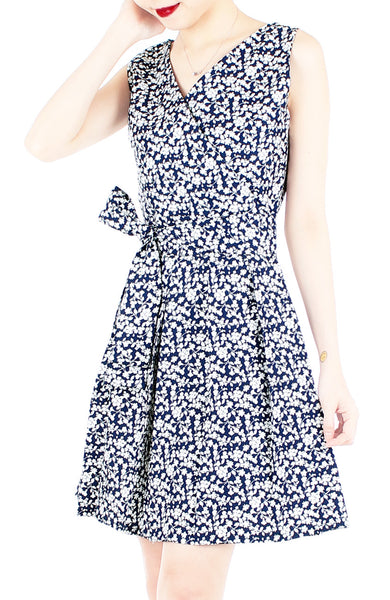 Tsuki-hana Two-way Flare Dress - Midnight Blue