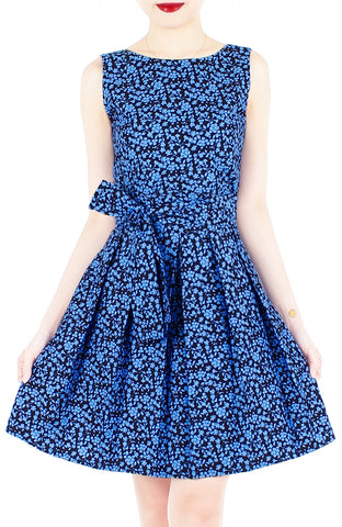 Tsuki-hana Two-way Flare Dress - Ocean Blue