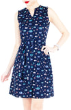 Unstoppably Nautical A-Line Button Down Dress with Belt - Blue Sails