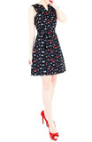 Unstoppably Nautical A-Line Button Down Dress with Belt - Red Sails