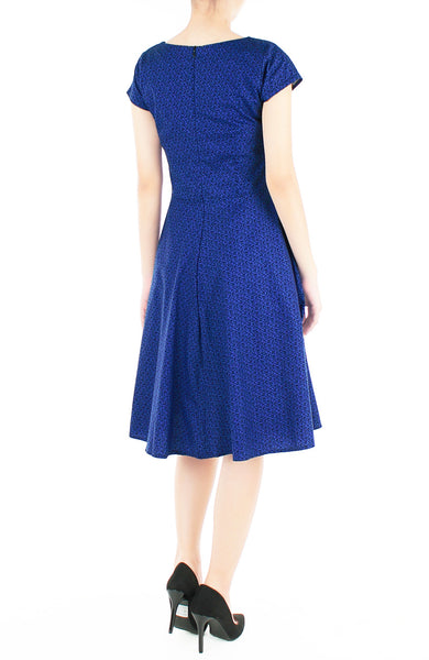 Verdurous Vines Flare Tea Dress - Azure Blue