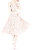 Vintage Dreamy Floral Flare Midi Dress - Light Pink