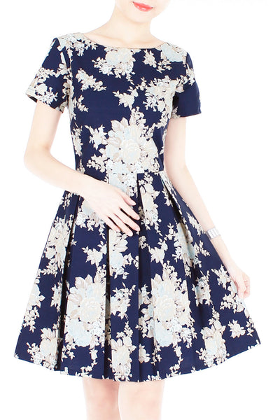 Vintage Heirloom Roses Flare Dress with Short Sleeves - Dark Blue