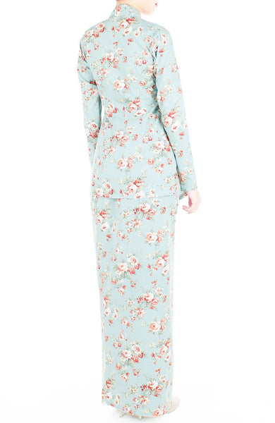Vintage Heirloom Roses Kebaya - Powder Blue