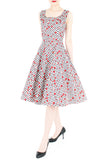 Vintage Strawberry Love Flare Midi Dress