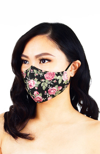 Vintage Flowering Roses Pure Cotton Face Mask - Black