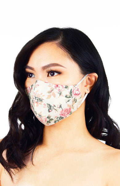 Vintage Flowering Roses Pure Cotton Face Mask - Cream