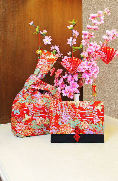 Vintage Hanakotoba Japanese Prosperity Bag - Reversible
