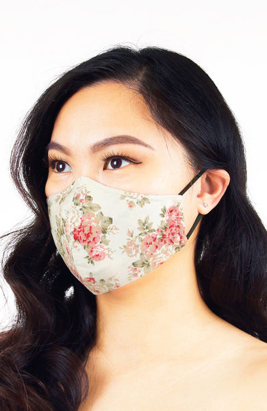 Vintage Peonies Pure Cotton Face Mask