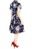 Vintage Rose Garden Emma Two-way Shirtdress – Midnight Blue