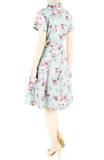 Vintage Rose Garden Emma Two-way Shirtdress - Powder Blue