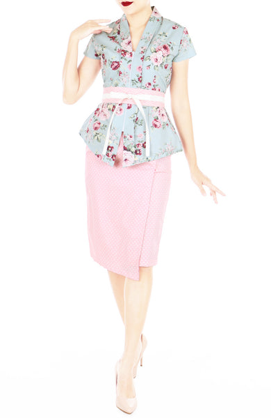Vintage Rose Garden Mei Kebaya Dress with Obi Belt