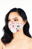 Vintage Rose Garden Pure Cotton Face Mask - Ivory White