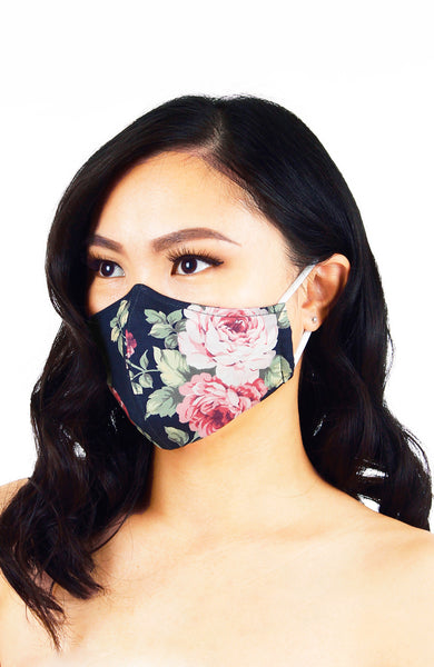 Vintage Rose Garden Pure Cotton Face Mask - Midnight Blue