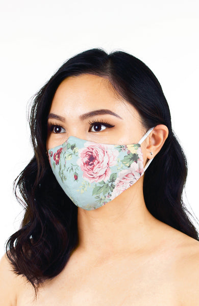 Vintage Rose Garden Pure Cotton Face Mask - Powder Blue