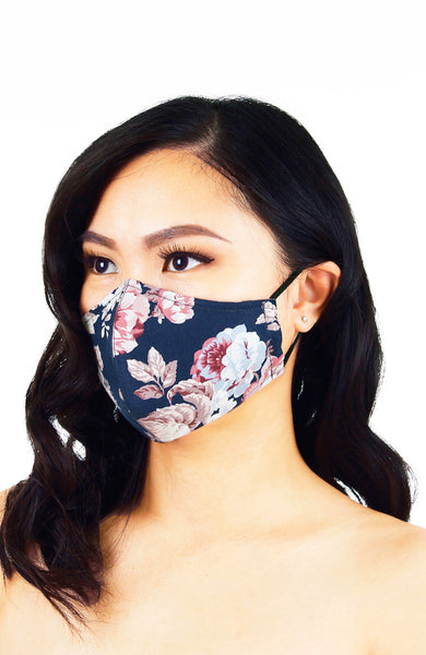 Vintage Tea Rose Pure Cotton Face Mask - Midnight Blue