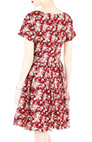 Vintage Blossoms in Mahogany Flare Dress with Short Sleeves