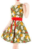 Vintage Christmas Poinsettia Blooms Flare Dress