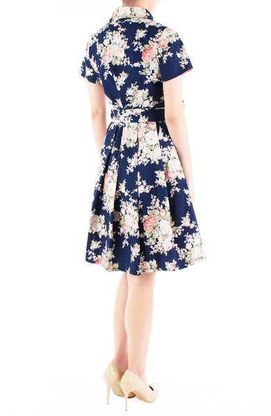 Vintage Heirloom Roses Anna Shirtdress - Dark Blue