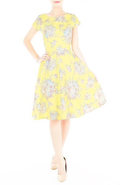 Vintage Heirloom Roses Flare Tea Dress - Yellow
