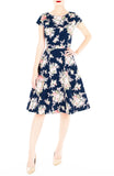 Vintage Heirloom Roses Flare Tea Dress with Cap Sleeves - Dark Blue