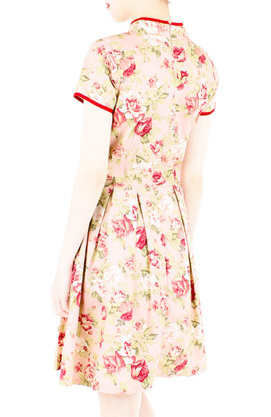 Vintage Hollywood Rose Cheongsam Dress