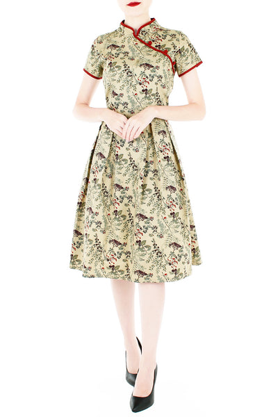 Vintage Olive Courtyard Cheongsam Dress
