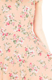 Vintage Peach Blooms Flare Tea Dress