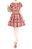 Viva Vintage Floral Flare Dress with Short Sleeves - Burgundy