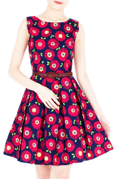 Wallflower Daisy Flare Dress - Dark Blue